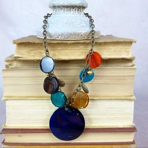 Colorful Art Glass Metal Disc Chain Necklace ZC42